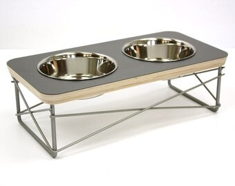 Modern Pet Feeder - Dog Bowl or Cat Bowl Elevated Feeder Mid Century Modern Design Eames Inspired in Grey Color