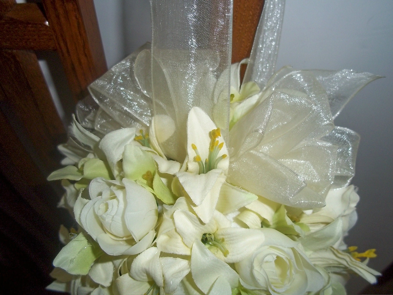 Orchid And Rose Bud Kissing Ball Pew Kissing Balls Flowergirl