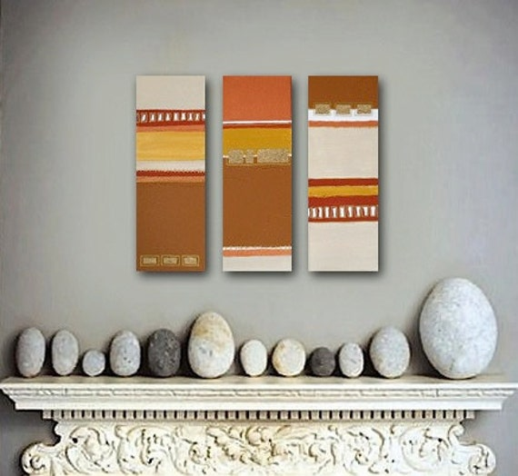 series of 5 acrylic abstract paintings - metallic gold copper brown - modern southwest decor - original art by Linnea Heide - SALE