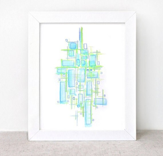 Original Watercolor Painting - abstract blue green - geometric
