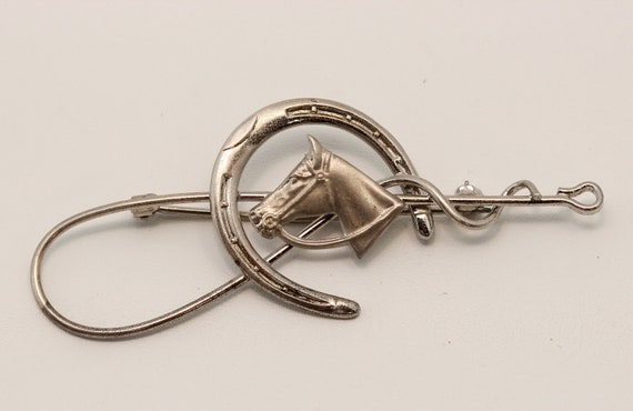 Vintage Sterling Silver Horse Shoe and Whip - Equestrian - Cowgirl Brooch - pin 2767
