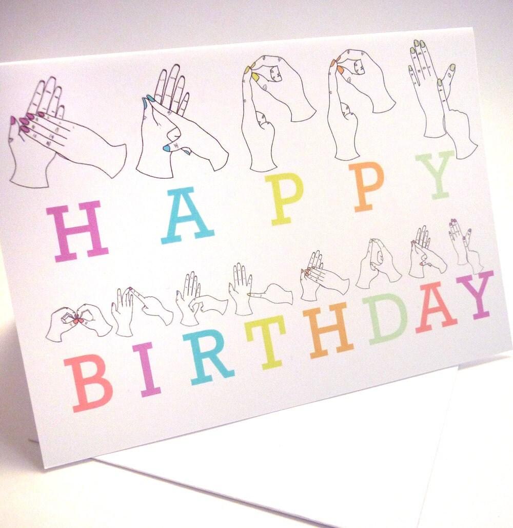 Sign Language Birthday Card