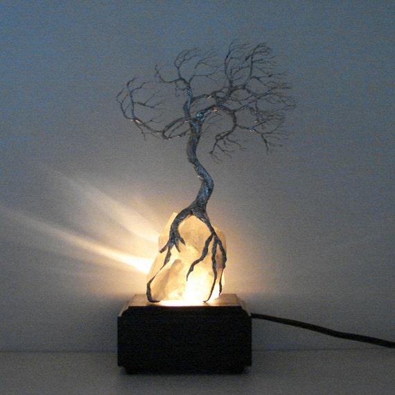 Wire Tree Of Life Moonlight Silver Wind SPiRiT sculpture on natural Brazil Quartz Crystal cluster Lamp, original art  LP22