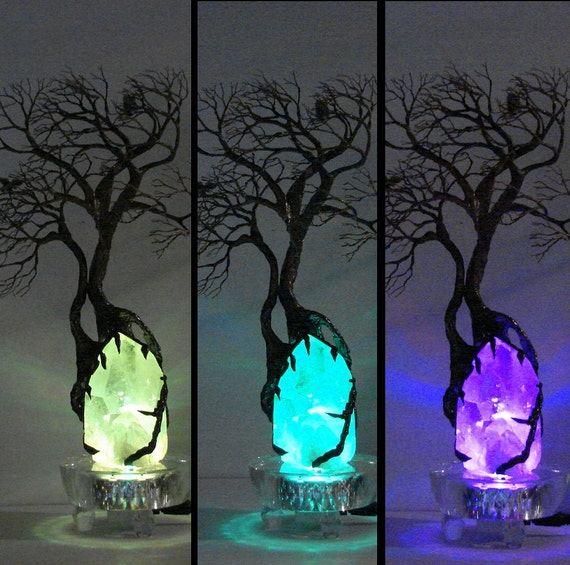 Wire Tree Of Life WIND SPiRiTs sculpture on natural Brazil Clear Quartz Crystal cluster 7 LED Lamp Crow and Owl, original art  LP23