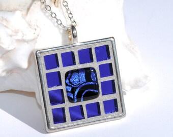 Mosaic Art Pendant, Fused Dichroic Glass, Mirrored Art Glass, Square, Tray Pendant, Cobalt Blue, Water, Unique Gift (Item 10491-P)