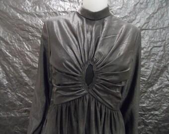 Vintage Liquid Metallic Gunmetal Gray 60's Maxi Gown  M