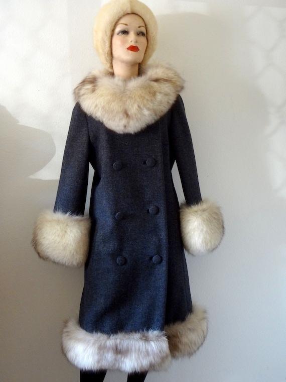 1960s lilli ann wool coat with fur collar designer vintage