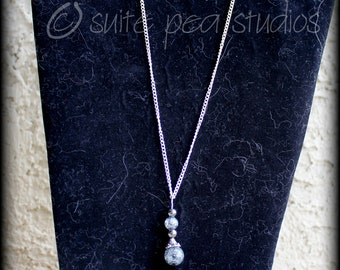Blue Glass and Hematite Bead Pendant Necklace and Earrings