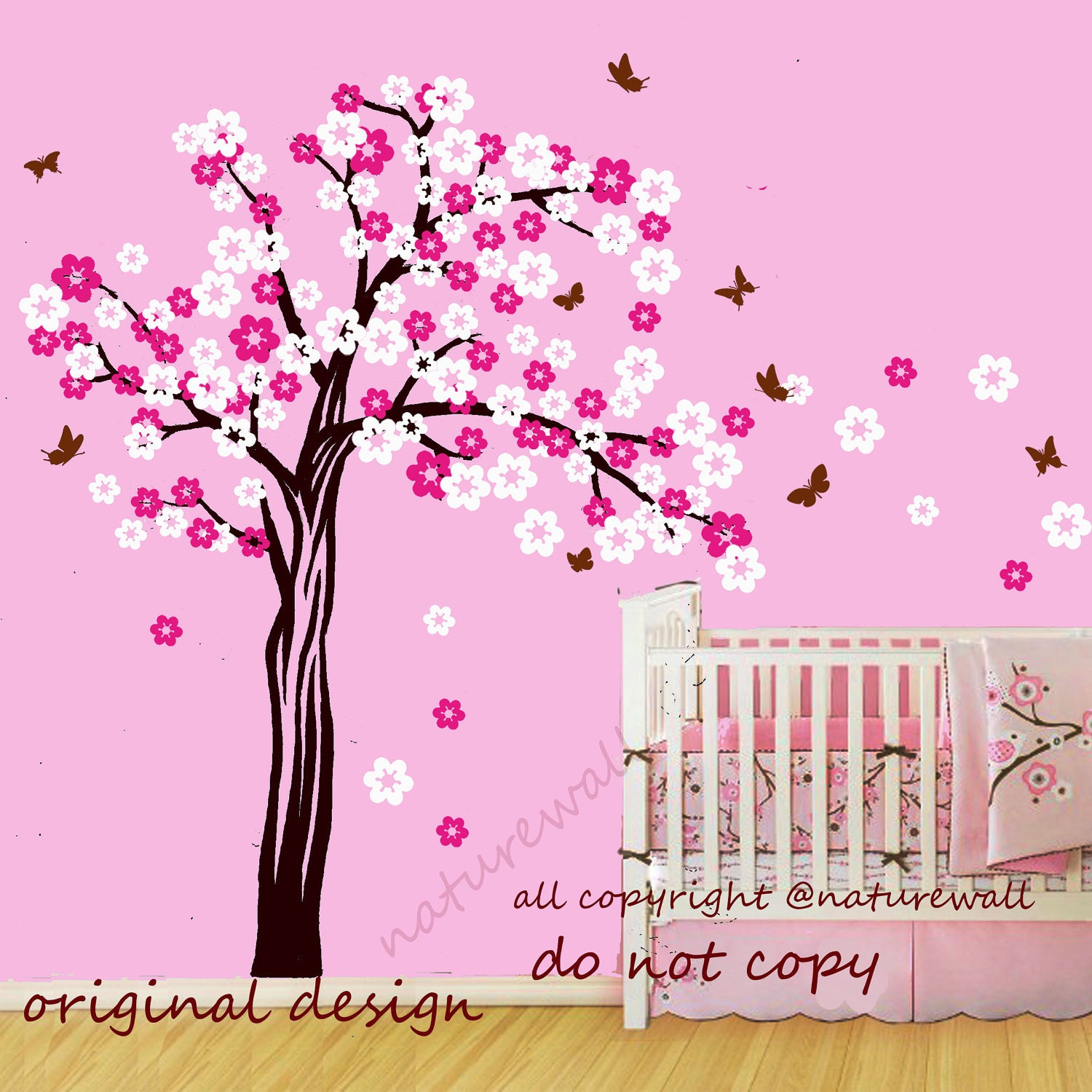 Cherry blossom tree decals kids wall decals baby by naturewall for Cherry blossom tree wall mural