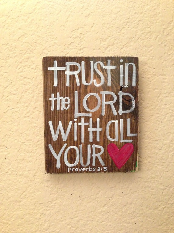 "Trust in the Lord - Bible Verse Art - Scripture Art- 5 1/2"" x 6 1/2"" Original Painting - Grace for Grace by Tiffany Rachal"