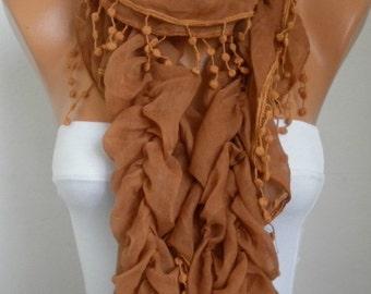 Caramel Ruffle Cotton Scarf,Summer Fashion Scarf, Cowl Scarf, Shawl, Gift For Her, Women Fashion Accessories,Birthday Gift