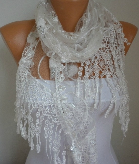 ON SALE - White Lace Scarf - shawl scarf  - Bridesmaid gift  - fatwoman