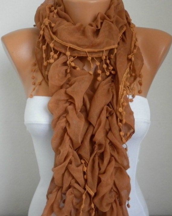 Caramel Ruffle Cotton Scarf,Fall Fashion Scarf, Cowl Scarf, Shawl, Gift Ideas For Her, Women Fashion Accessories Mother's Day Gift