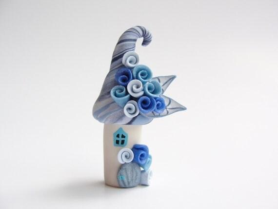 Miniature blue fairy house home handmade from polymer clay