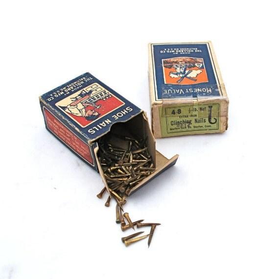 Vintage Nail Tack Boxes Holland Mfg. Brassed Shoe Nails