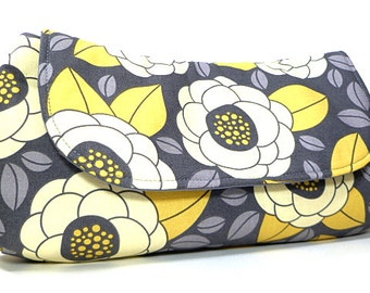 Clutch Purse - Yellow Grey Flower Blooms Fold Over Clutch, Bridesmaids Clutch, Gifts for Her