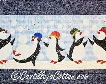 Penguin Quilt ePattern, 4562-3, penquin wall quilt, penquin wall hanging, navy and blue penguin wall quilt