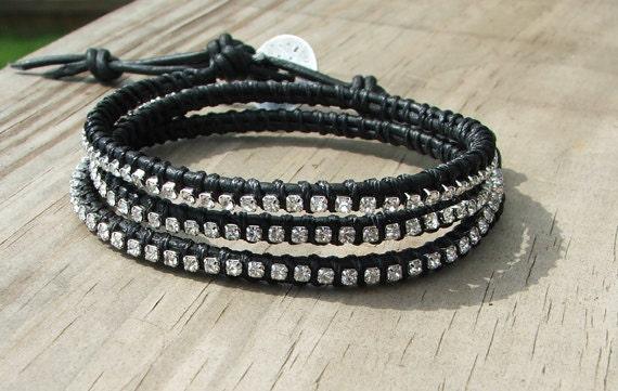 Custom listing for walea2007  Chic Bohemian Leather and Crystal Tennis Wrap Bracelet