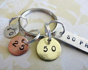 WEIGHT LOSS Gift Key Chain- Hand Stamped Washer, Aluminum Rectangle with Discs