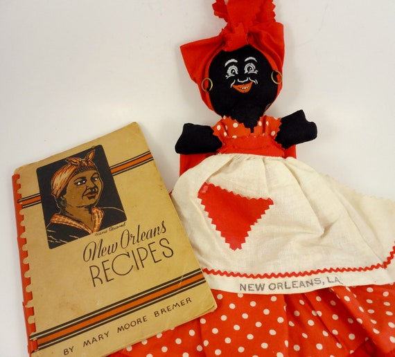 Vintage New Orleans Souvenir Doll and 1944 New Orleans Cookbook
