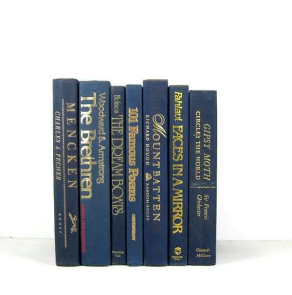 Blue Vintage Books  Decorative Collection  for Wedding  Home Decor Photography Prop