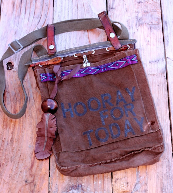 """Vintage Surplus Army Satchel, """"Hooray For Today,"""" rad purple tribal trim, handmade leather feather charm & ruggedly delightful detail"""