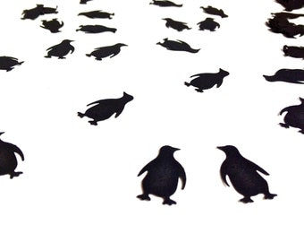 100 Black Penguin Confetti - Paper Punch - Embellishment - Decoration