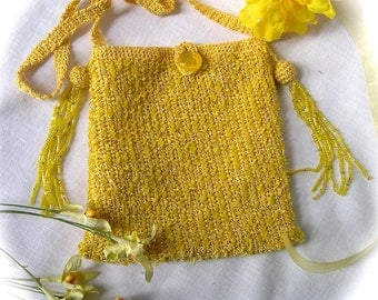 Crocheted Confetti-Beaded Petite Purse in Sunshine Yellow