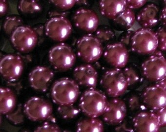 Glass Pearls Round 8 mm Magician's Cloak Magenta  (52) FULL STRAND