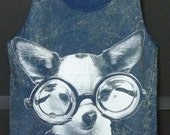 Puppy chihuahua glasses art Navy Blue Unisex women men teen Stone washed Tank top size M/L bleached sleeveless singlet tshirt