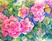 Watercolor Collage Roses and Butterflies - Original Martha Kisling Art