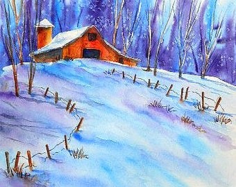 STUDIO SALE - Watercolor Of Mountain Barn and Snow with Trees by Colorado Artist Martha Kisling Watercolor