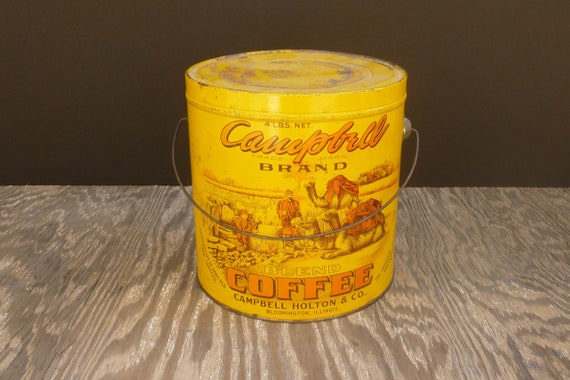 Vintage Antique Coffee Tin / Campbell Brand Coffee Pail