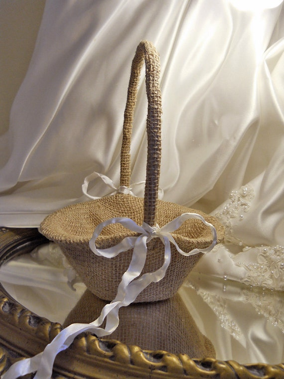 "Burlap Flower Girl Basket handmade of natural burlap. ""READY TO SHIP"""
