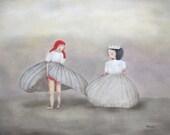 "fine art print, giclee print, winter snow queens. figure art. girls portrait ""Scandalous"""