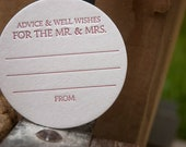 100 Advice and Well Wishes for the MR. and MRS. Coasters (red), modern design (Letterpress, 3.5 inch circle), perfect for weddings