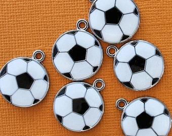 5 Soccer Ball Charms Enamel Black and White - E029