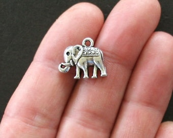 10 Elephant Charms Antique  Silver Tone - SC1449