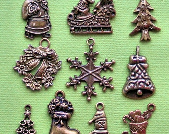 Christmas Charm Collection Antique Bronze Tone 10 Different Charms - COL168