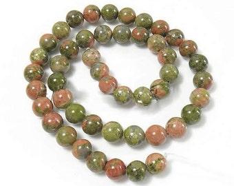 15 Unakite Beads 10mm  Natural Earth Tone - BD048