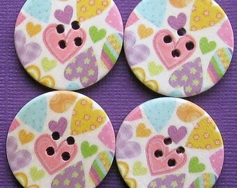 6 Large Wood Buttons Floral Designs 30mm BUT81