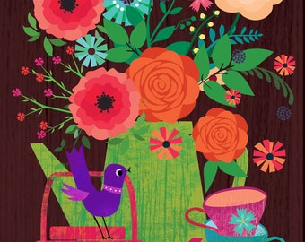 flowers in a coffee pot-limited edition illustration