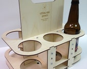 Custom Engraved Reusable Eco-Friendly Wooden Beer Caddy