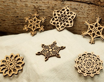 Wooden Snowflake Ornaments Laser Engraved (Second Set of 6) Small