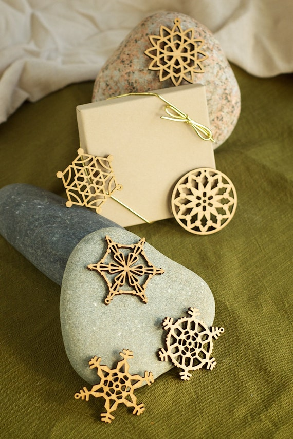 Wooden Snowflake Ornaments Laser Engraved (First Set of 6) Small