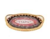 Red serving tray glass mosaic kitchen decor tribal geometry geometric wicker large tray