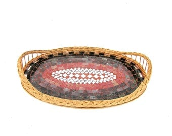 Red serving tray glass mosaic kitchen decor tribal geometry geometric wicker large tray