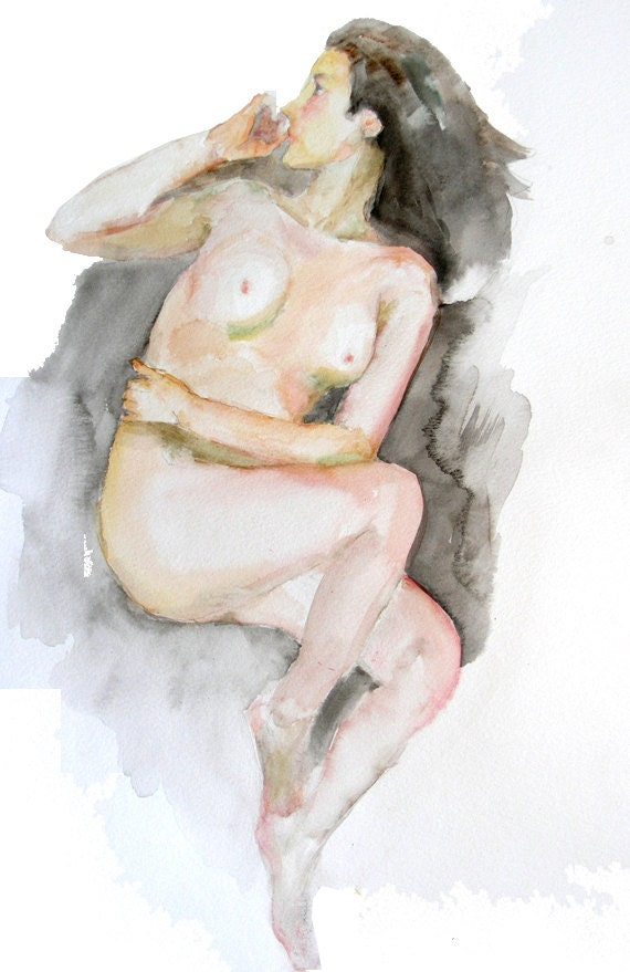 Original watercolor painting of the female nude-03, Holiday present / birthday present / art collection