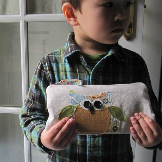 SALE owl zipper bag, pencil case for kids, storage pouch, children, back to school, blue, mustard yellow READY to SHIP mamableudesigns