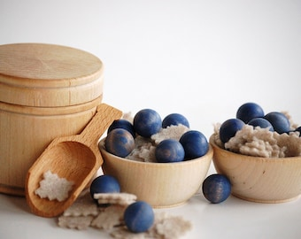 Natural Wooden Pretend Play Food - BERRIES  n OATMEAL- Waldorf Inspired Toy